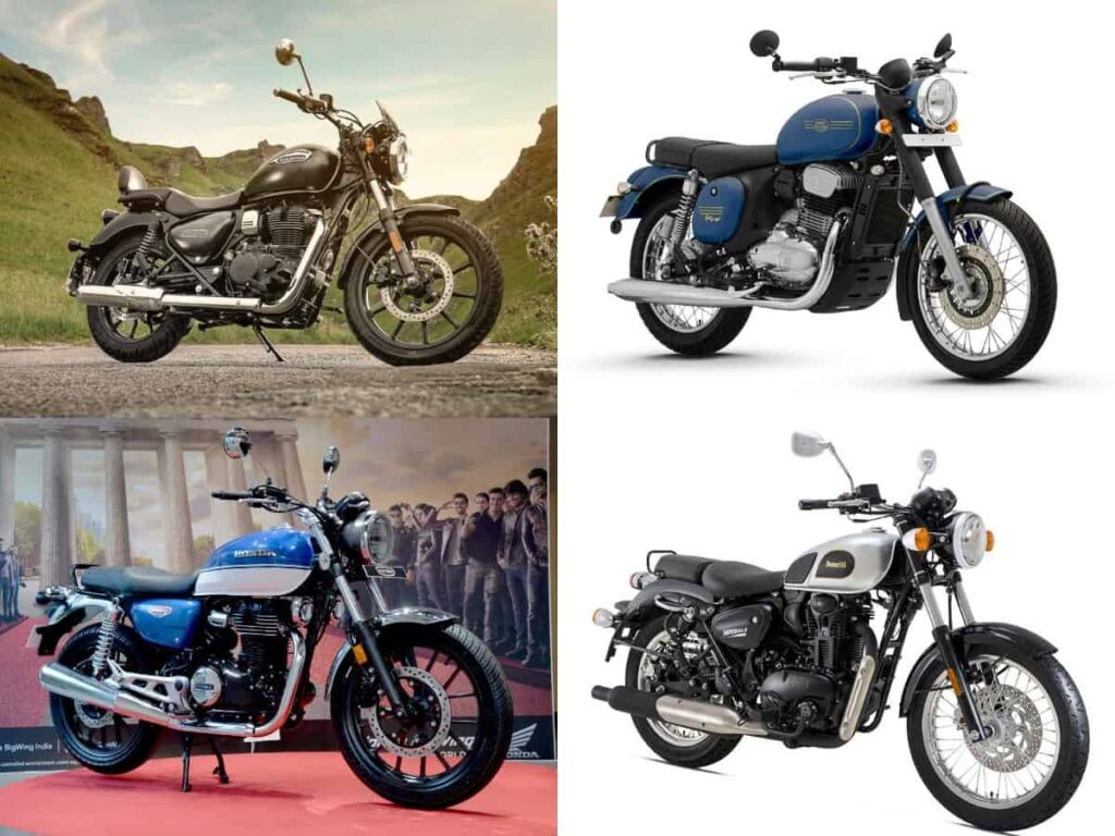 royal enfield meteor 350 vs honda hness cb 350 vs benelli imperiale 400 vs jawa jawa forty two 1